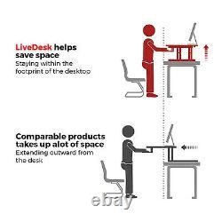 32 Double Moniteur Réglable Bureau De Hauteur Riser Tabletop Sit To Stand Workstation