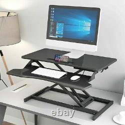 32 Moniteur De Bureau Permanent Réglable En Hauteur Noire Riser Tabletop Sit To Stand Us