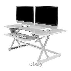 46 Hauteur Réglable Assied To Standing Desk Riser White Rocelco