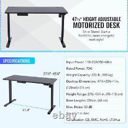 47 Ajustable Bureau D'ordinateur De Hauteur Noir Pour Siège & Standing 220lb Cap & Usb