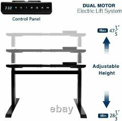 47 X 24 Bureau De Stand De Sit-stand Électrique Avec Poste De Travail Réglable De Hauteur Supérieure De Table