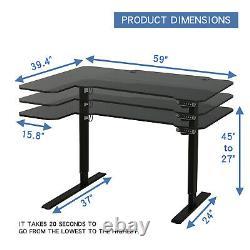59l Type Electric Standing Desk Hauteur Réglable Sit Lifting Table Basket+hook
