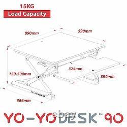 Bureau Yo-yo 90-height Réglable Standing Desk (blanc). Bureau Supérieur De Sit-stand