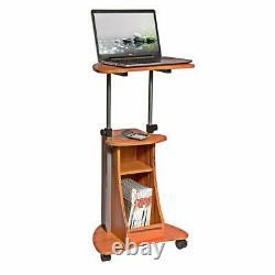 Chariot D'ordinateur Portable Réglable Mobil Sit-to-stand Avec Rangement En Bois Naturel