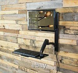 Computer Wall Mount Sit Stand Hauteur Réglable Moniteur Clavier Poste De Travail