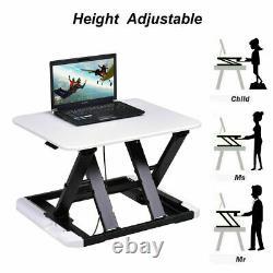 Costway 8 Hauteur Réglable Sit/stand Lift Riser Ordinateur Portable Bureau De Travail Blanc