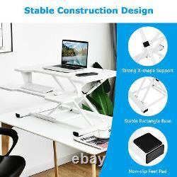 Costway Assied To Stand Desk 32 Standing Desk Converter Hauteur Réglable En Blanc