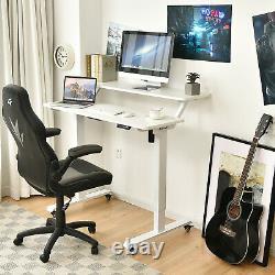 Costway Electric 2-tier Standing Desk Mobile Sit Stand Desk Hauteur Réglable