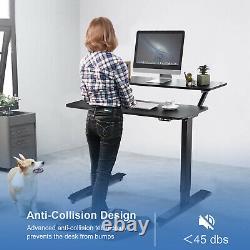 Costway Electric 2-tier Standing Desk Mobile Sit Stand Hauteur De Bureau Réglable