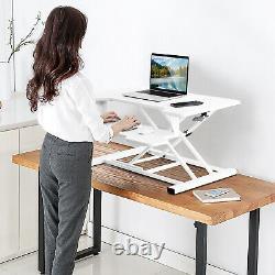 Costway Sit To Stand Desk 32 Standing Desk Convertisseur Hauteur Réglable Blanc