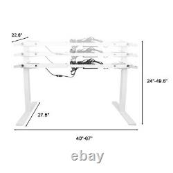 Double Hauteur Motrice Réglable Électrique Sit & Stand Desk Frame 220lb Charge