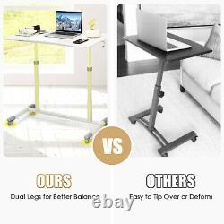 Goplus Hauteur Réglable Bureau D'ordinateur Sit Stand Rolling Notebook Table Blanc