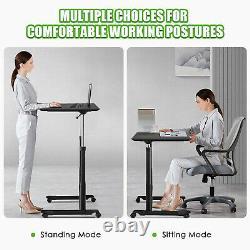 Goplus Hauteur Réglable Bureau D'ordinateur Sit Stand Rolling Notebook Table Noir