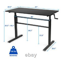 Gymax Standing Desk Hauteur Réglable Assied To Stand Workstation Withcrank Handle