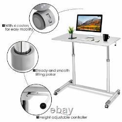 Hauteur Réglable Computer Desk Sit To Stand Rolling Notebook Table Portable Nouveau