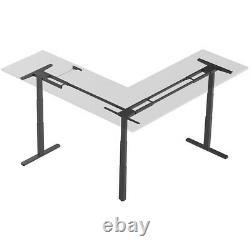 L Shaped Motor Sit Stand Corner Pc Computer Desk Frame Height Réglable Noir