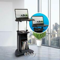 Mobil Sit-to-stand Ajustable Laptop Cart Avec Stockage En Finition Graphite