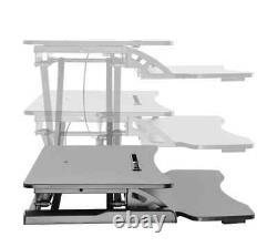 Monoprice Height Adjustable Sit Stand Riser Workstation Desk Convertisseur Noir