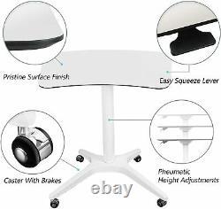 Pneumatique Hauteur Réglable Sit-stand Mobile Ordinateur Portable Ordinateur De Bureau Cart Blanc