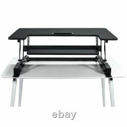 Premium Tabletop Adjustible Height 36 Wide Sit Stand Riser Desk En Noir