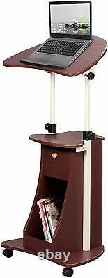 Rta Techni Mobili Sit-to-stand Rolling Portable Cart & Storage, Chocolat