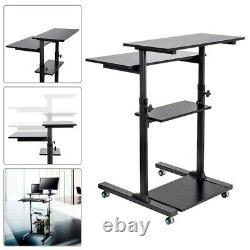 Sit Stand Ajustable Workstation Desk Mobile Cart Pour Pc Moniteur Clavier Ordinateur Portable
