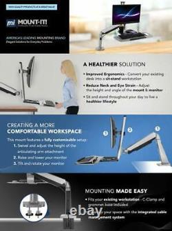 Sit Stand Desk Mount Computer Workstation Keyboard Tray Arm Laptop Height Adjust