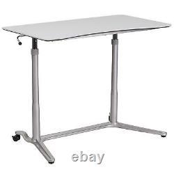 Sit-down & Stand-up Computer Desk Avec Hauteur Ajustée Et Lumière Gris Stratifié Haut