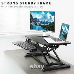 Stand Up Height Réglable 32 Inh Desk Riser Sit Standing Convertisseur Dual Monitor