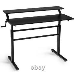 Standing Desk Crank Réglable Sit To Stand Poste De Travail Pour Home & Office Black