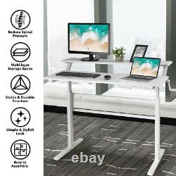 Standing Desk Crank Réglable Sit To Stand Workstation With Monitor Shelf Blanc