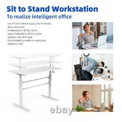 Standing Desk Height Réglable Sit To Stand Workstation Withcrank Handle White (en)