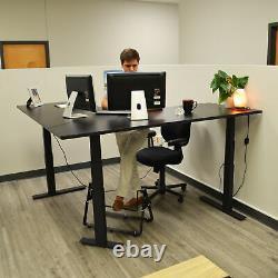Titan En Forme De L Réglable Sit To Stand Desk Avec Black Desktop