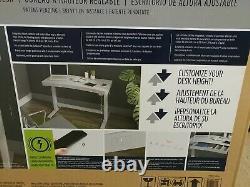 Tresanti Bureau En Hauteur Réglable, Sit Ou Stand Blanc Charge Sans Fil Nouveau