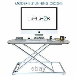 Updezk Hauteur Réglable Slim Sit Stand Stand Convertisseur De Bureau Debout Riser D'ordinateur