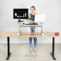 Used Vivo White Height Adjust Standing Desk Monitor Riser Tabletop Sit To Stand
