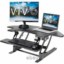 Utilisé Vivo Black Corner Électrique Hauteur Réglable Cubicle Sit Stand Bureau Riser
