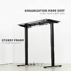 Vivo Black 47x 24 Electric Sit Stand Desk, Poste De Travail Réglable En Hauteur