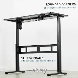 Vivo Black 55x 24 Electric Sit Stand Desk, Poste De Travail Réglable En Hauteur