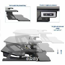 Vivo Black Corner Electric Height Adjustable Cubicle Sit To Stand Desk Riser