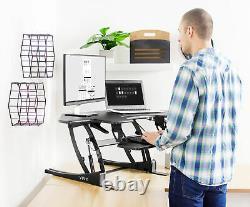 Vivo Black Corner Height Adjustable Cubicle Sit To Standing Tabletop Desk Riser