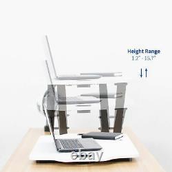Vivo Blanc Hauteur Réglable Stand 27 Bureau Sit Stand Tabletop Monitor Riser