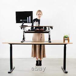 Vivo Dark Wood Hauteur Réglable De Bureau Debout Moniteur Riser Tabletop Sit Stand