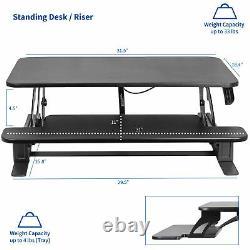 Vivo Noir Hauteur Réglable 32 Moniteur De Bureau Debout Riser Tabletop Sit Stand