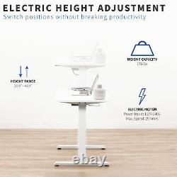 Vivo White 44x 24 Electric Sit Stand Desk, Poste De Travail Réglable En Hauteur